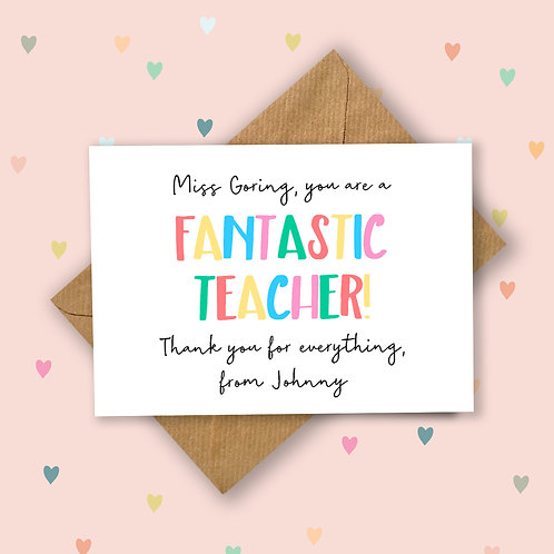 Fantastic Teacher Personalised Card