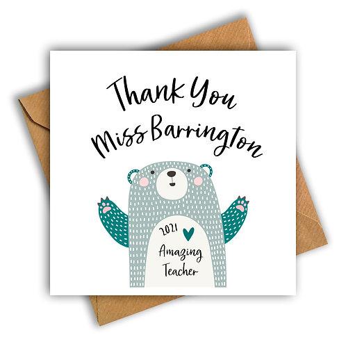 Bear Amazing Teacher Personalised Card
