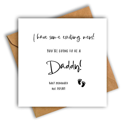 Personalised Baby Feet Daddy Pregnancy Announcement Card