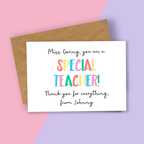 Special Teacher Personalised Card