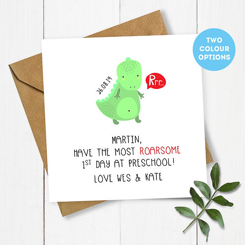 Personalised Dinosaur 1st Day at Preschool Card