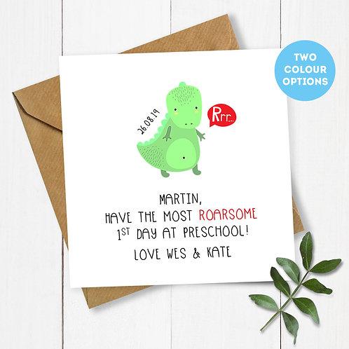 Personalised Dinosaur 1st Day at Preschool Card