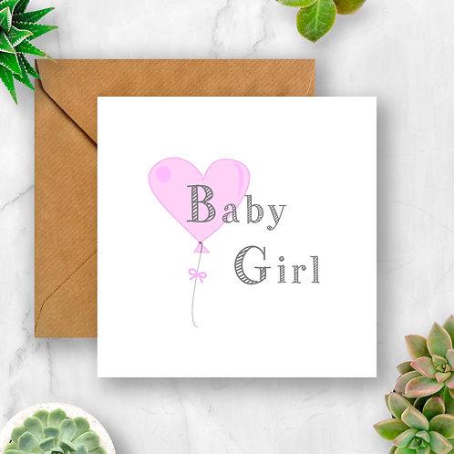 Baby Girl Balloon Card
