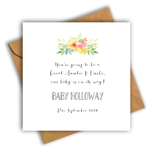 Personalised Flowers Great Aunt & Uncle Pregnancy Announcement Card