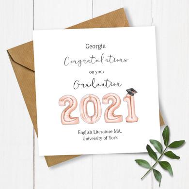 Balloons Grad 2021 Rose Gold Name and Un