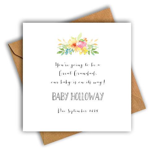 Personalised Flowers Great Grandad Pregnancy Announcement Card