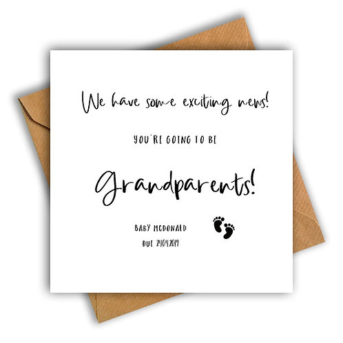 Personalised Baby Feet Grandparents Pregnancy Announcement Card