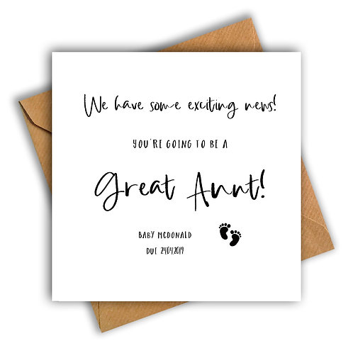Personalised Baby Feet Great Auntie Pregnancy Announcement Card