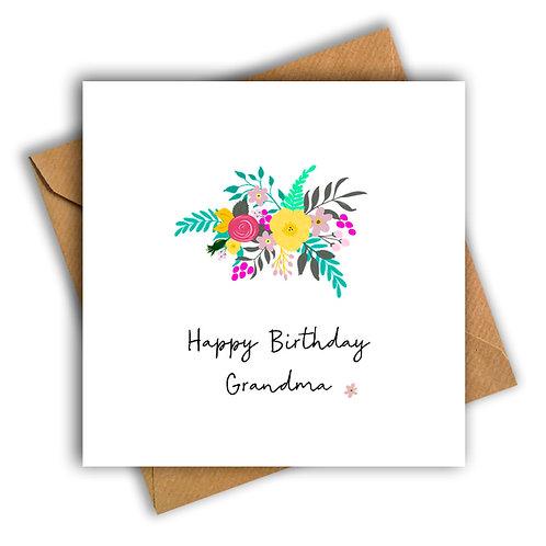 Tropical Flowers Gran Birthday Card