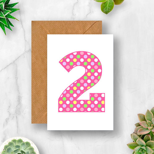 Pastel 2nd Birthday Number Card