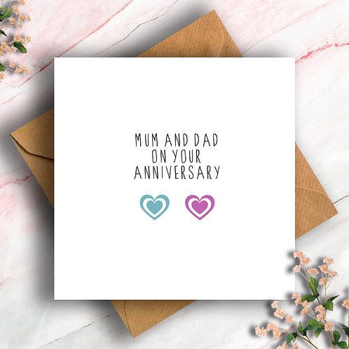 Heart Mum and Dad Anniversary Card