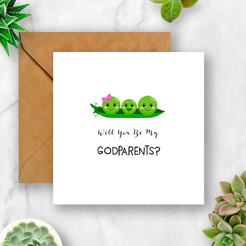 Peas Will You Be My Godparents? Card