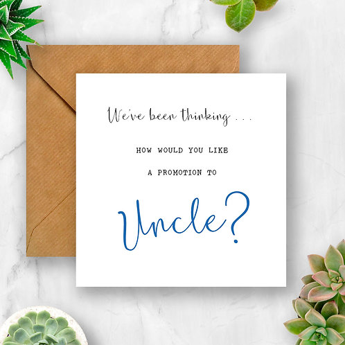 Promotion to Uncle Pregnancy Announcement Card