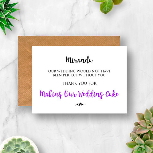 Personalised Making Our Wedding Cake Thank You Card