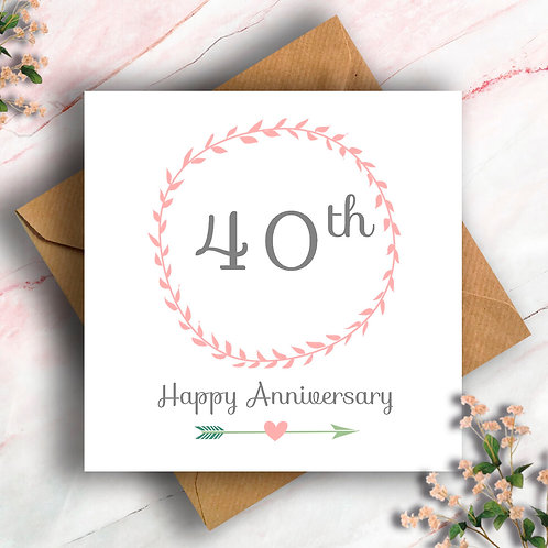 40th Anniversary Wreath Card