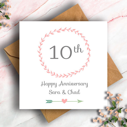 Personalised Wreath Any Number Anniversary Card