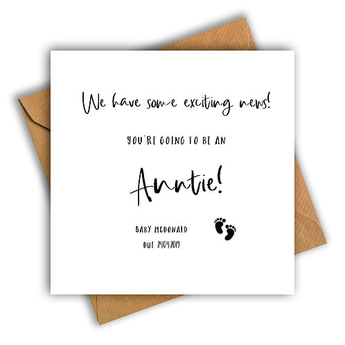 Personalised Baby Feet Auntie Pregnancy Announcement Card