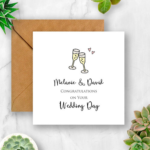 Personalised Wedding Congratulations with Champagne Glasses Card