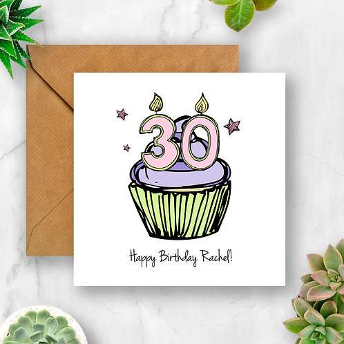 Personalised Cupcake Birthday Any Number Card (Pink)