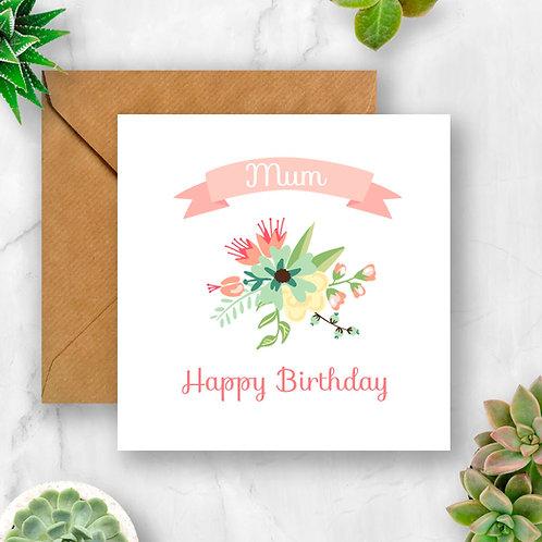 Floral Mum Birthday Card