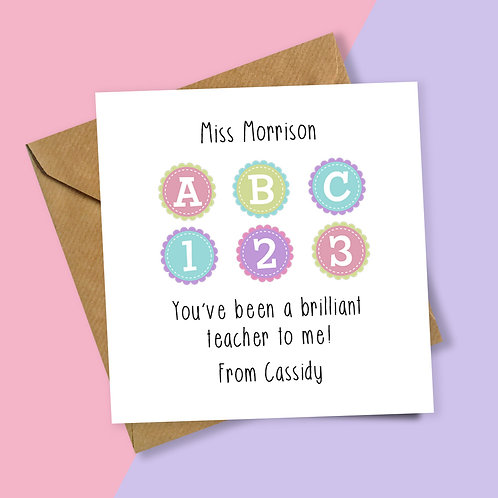 ABC123 Brilliant Teacher Personalised Card