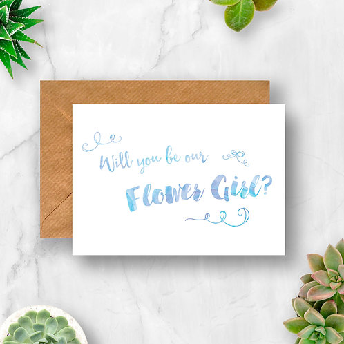 Will You Be Our Flower Girl? Watercolour Card