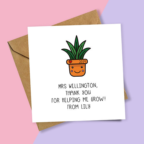 Plant Thank You for Helping Me Grow Personalised Card