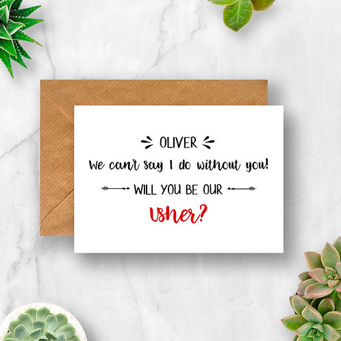 Personalised Usher I Can't Say I do Without You Card