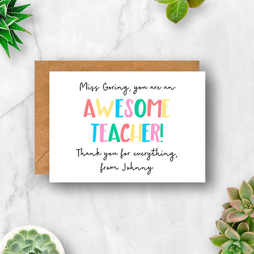 Awesome Teacher Personalised Card
