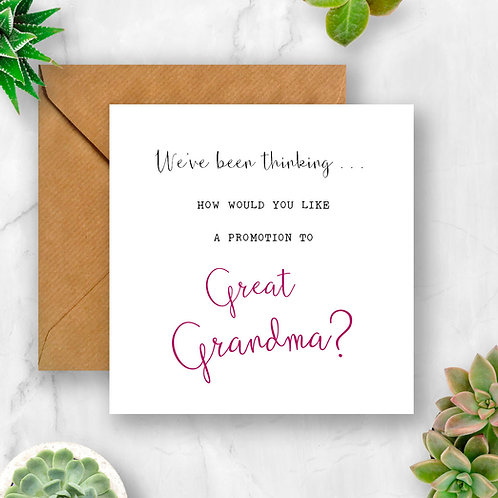 Promotion to Great Grandma Pregnancy Announcement Card