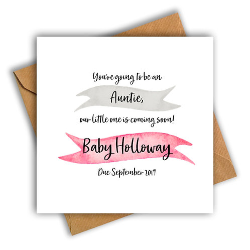 Personalised Ribbon Auntie Pregnancy Announcement Card