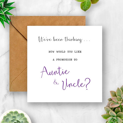Promotion to Auntie & Uncle Pregnancy Announcement Card
