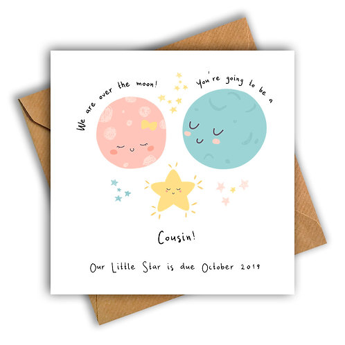 Personalised Moon & Star Cousin Pregnancy Announcement Card