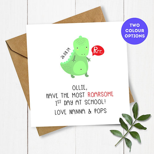 Personalised Dinosaur 1st Day at School Card