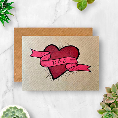 A Heart, Banner and Our Initials Personalised Card
