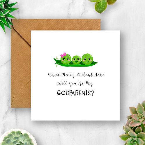 Personalised Peas Will You Be My Godparents? Card