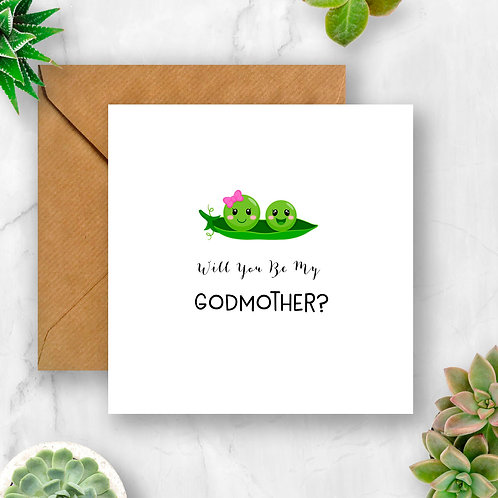 Peas Will You Be My Godmother? Card
