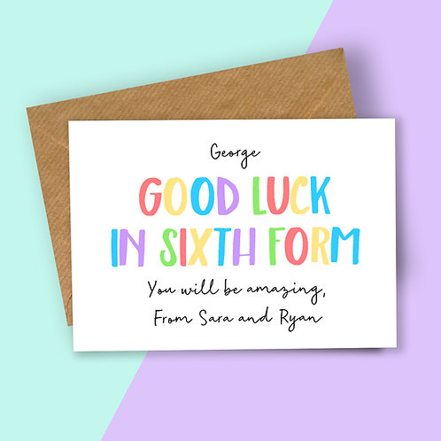 Personalised Rainbow Letters Good Luck in Sixth Form Card