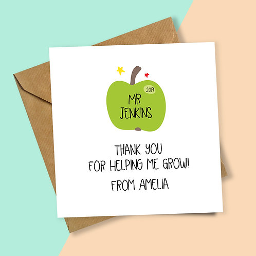 Teacher Green Apple Thank You for Helping Me Grow Personalised Card