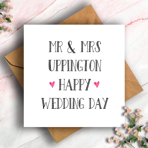 Personalised Hearts Wedding Card, Wedding Day Card