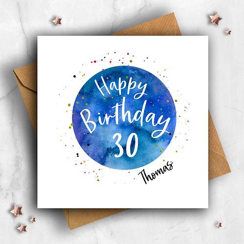 Personalised Circle Happy Birthday 30 Card