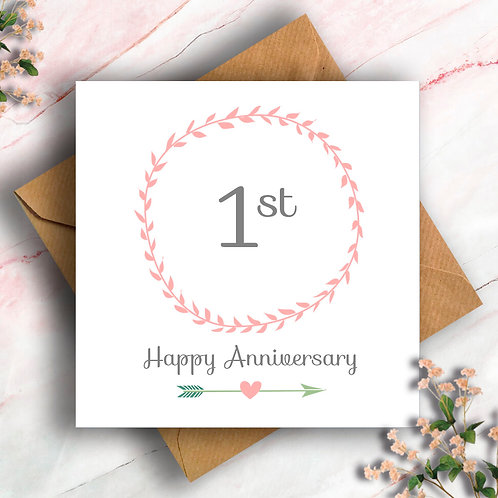 1st Anniversary Wreath Card