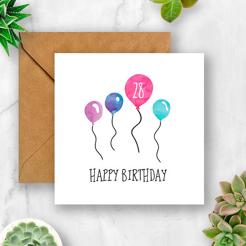 Number Birthday Balloons Card