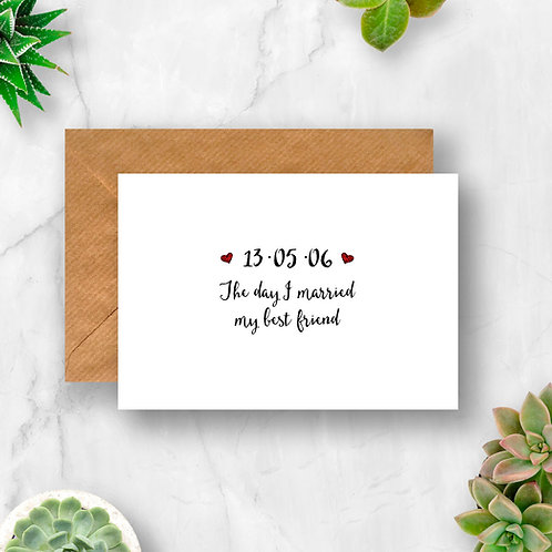 Personalised The Day I Married My Best Friend Hearts Card