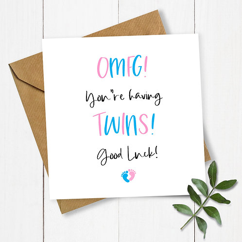 OMFG You're having Twins! Baby Shower Card