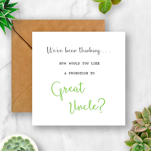 Promotion to Great Uncle Pregnancy Announcement Card