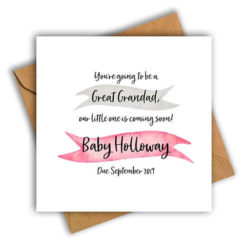 Personalised Ribbon Great Grandad Pregnancy Announcement Card