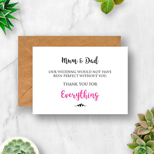 Personalised Wedding Thank You For Everything Card