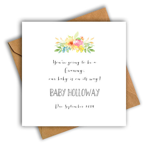 Personalised Flowers Granny Pregnancy Announcement Card