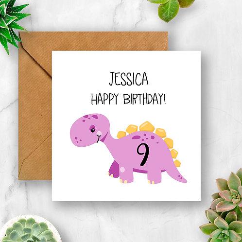 Personalised Dinosaur Birthday Number Card (Purple)